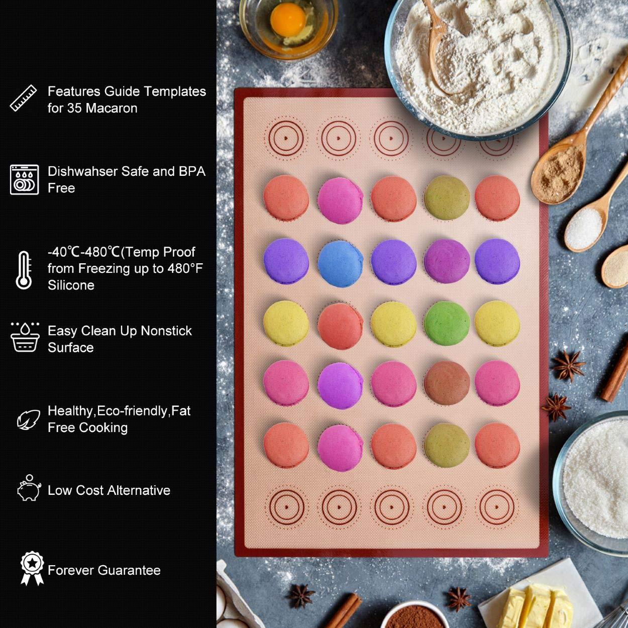 Silicone Baking Mat Macaron Mat Kit(14pcs set) Macaroon Baking Mat Set of 2 Half Sheet Macaron Silicone Mat Nonstick Macaron Mat Sheet,6 Piping Tip,2 Piping Bag with 2 Bag Tie,1 coupler (11.6''x16.5'') by Angadona (Image #2)