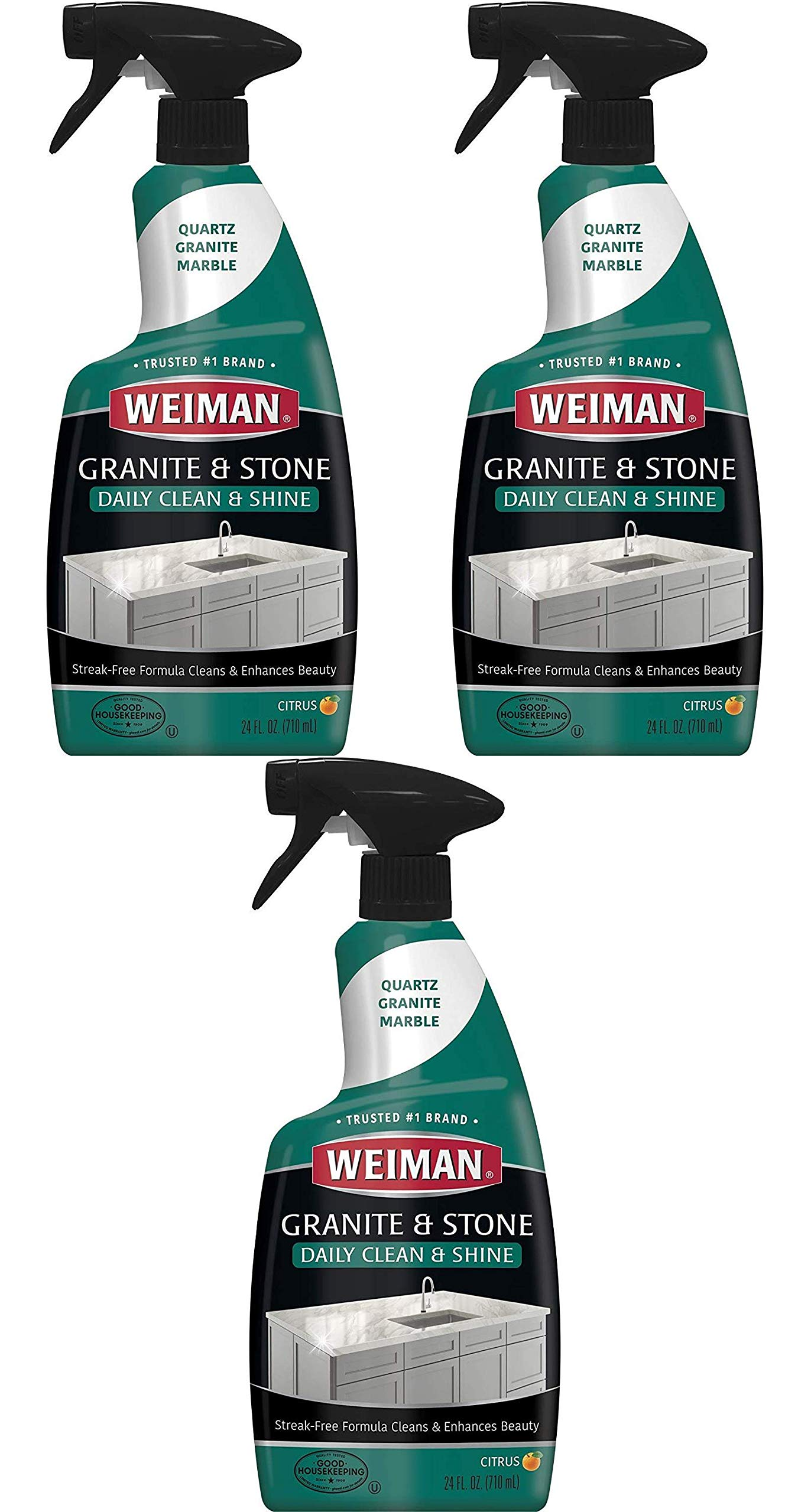 Weiman Granite Cleaner and Polish for Daily Use, Streak-Free Formula for Countertops, Marble, Quartz, Laminate, and Tile (24 Ounce) Pack of 3 by Weiman