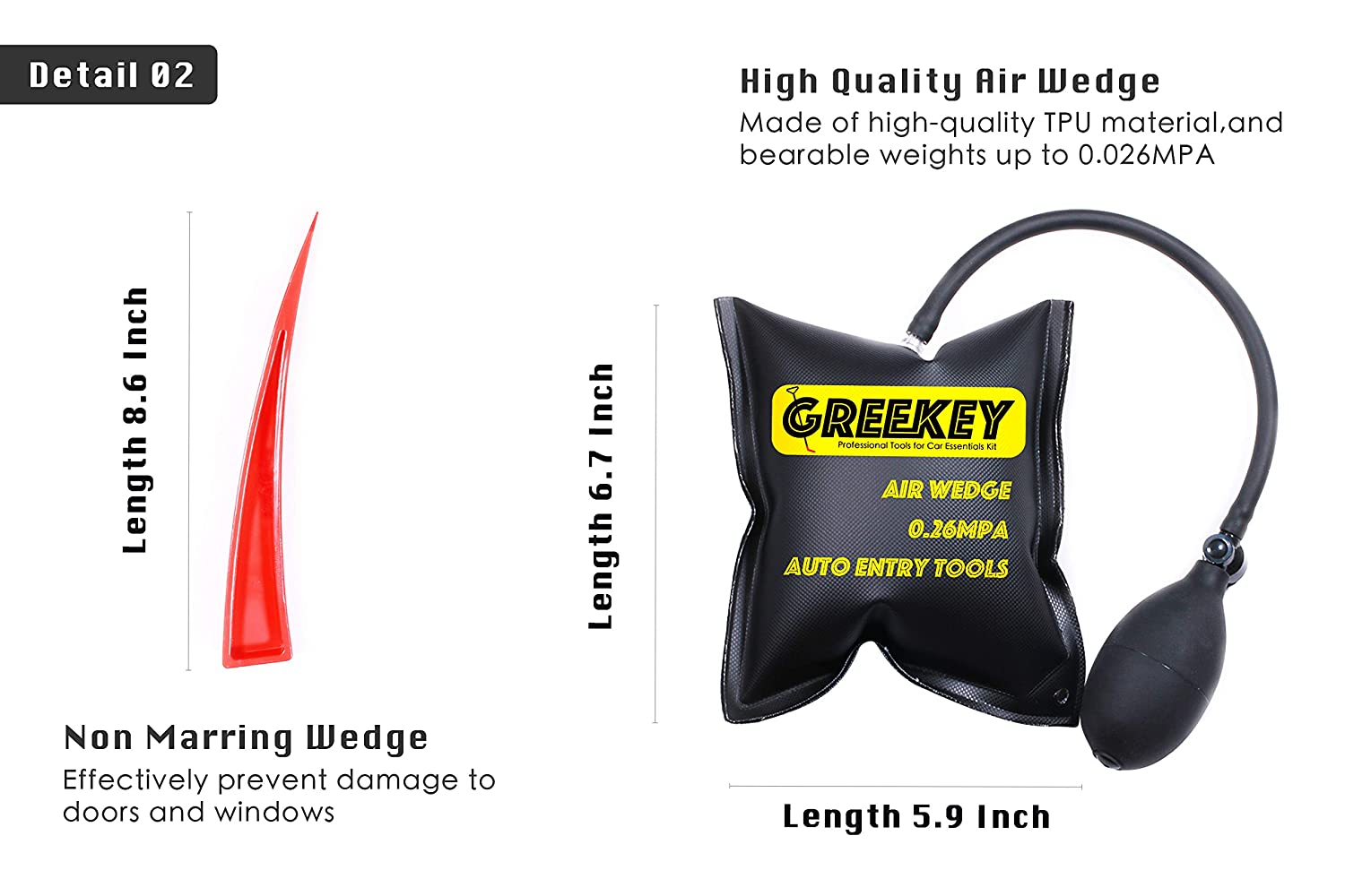 Professional Tools for Unlock Car Door and Home Door-Window Car Essentials Kit with Long Reach Grabber Non Marring Wedge Air Wedge