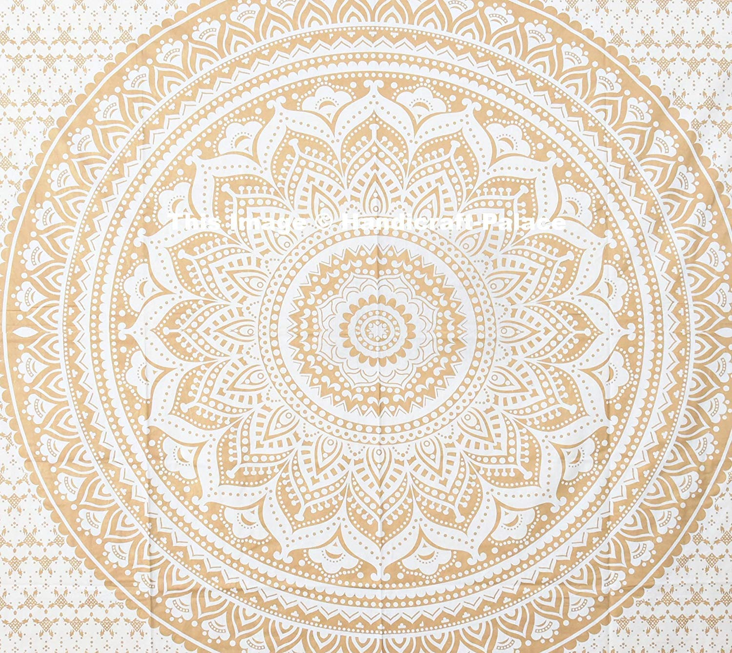 Gold Ombre Mandala Duvet Cover By ''Handicraft-Palace'' ,Boho Queen Duvet Cover, Bohemian Bedspread Ethnic Cotton Handmade With Pillow Case by Handicraft-Palace (Image #2)