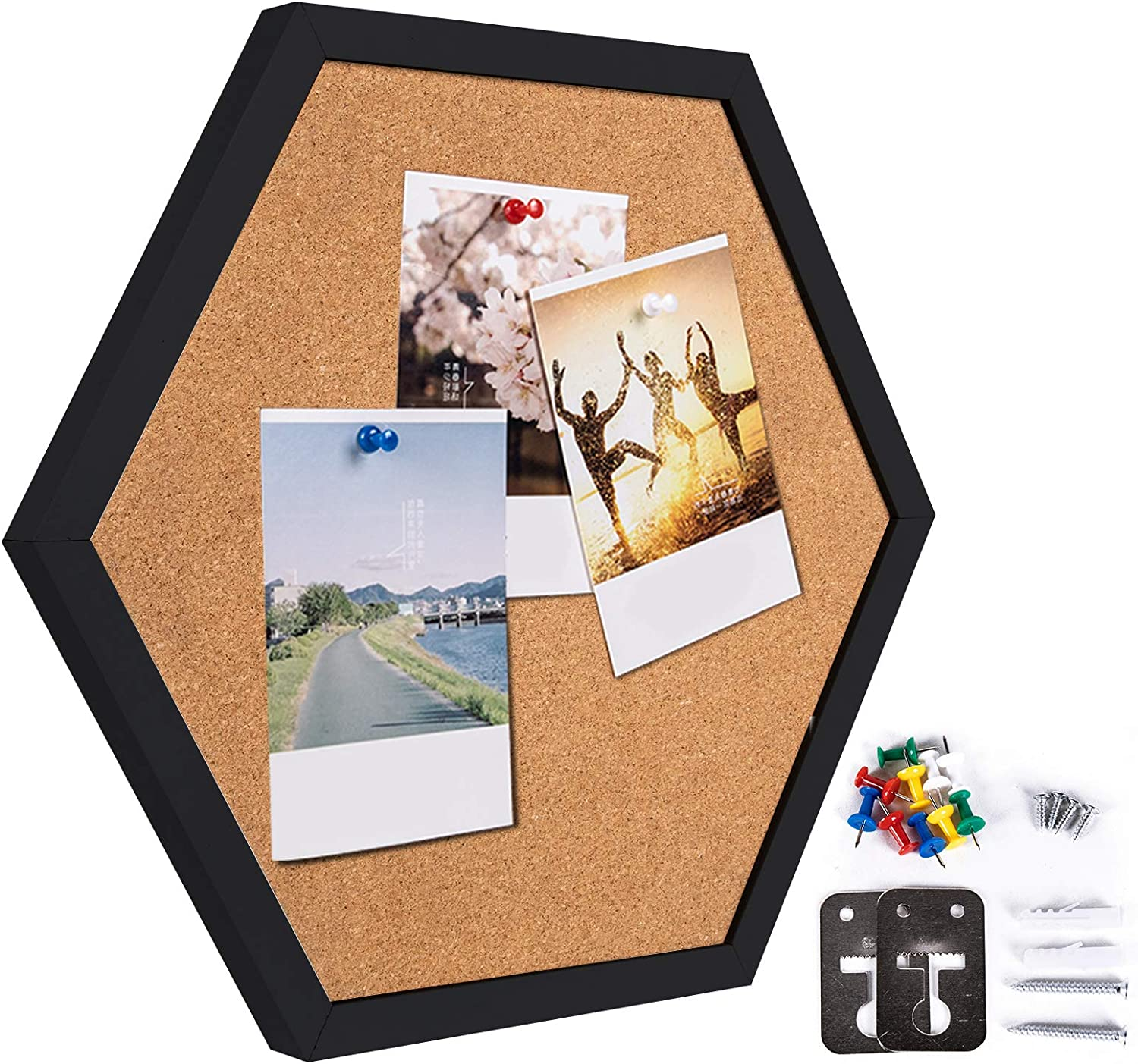 CRCHOM Cork Board Hexagon Framed Bulletin Board Thick Wall Tiles, Black Wooden Framed Message Tackboard for Home,Office and School(Set Including 10 Push Pins, Hardware )
