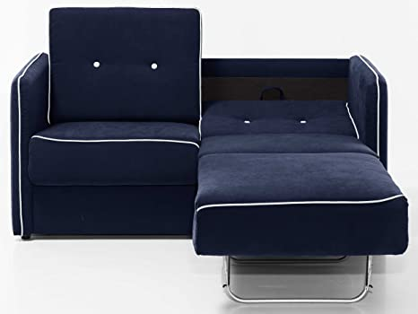 Moebella Schlafsofa Merina Grau Blau Weiss Mikrofaser Stoff Sofa Couch Schlafcouch Mit Federkern Bettfunktion Blau