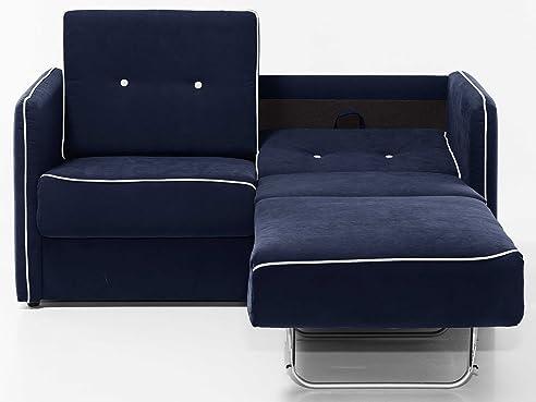 schlafsofa merina grau blau wei mikrofaser stoff sofa couch schlafcouch mit federkern bettfunktion blau - Sofacouch Mit Schlafcouch