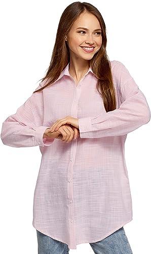 oodji Ultra Mujer Camisa Larga Holgada