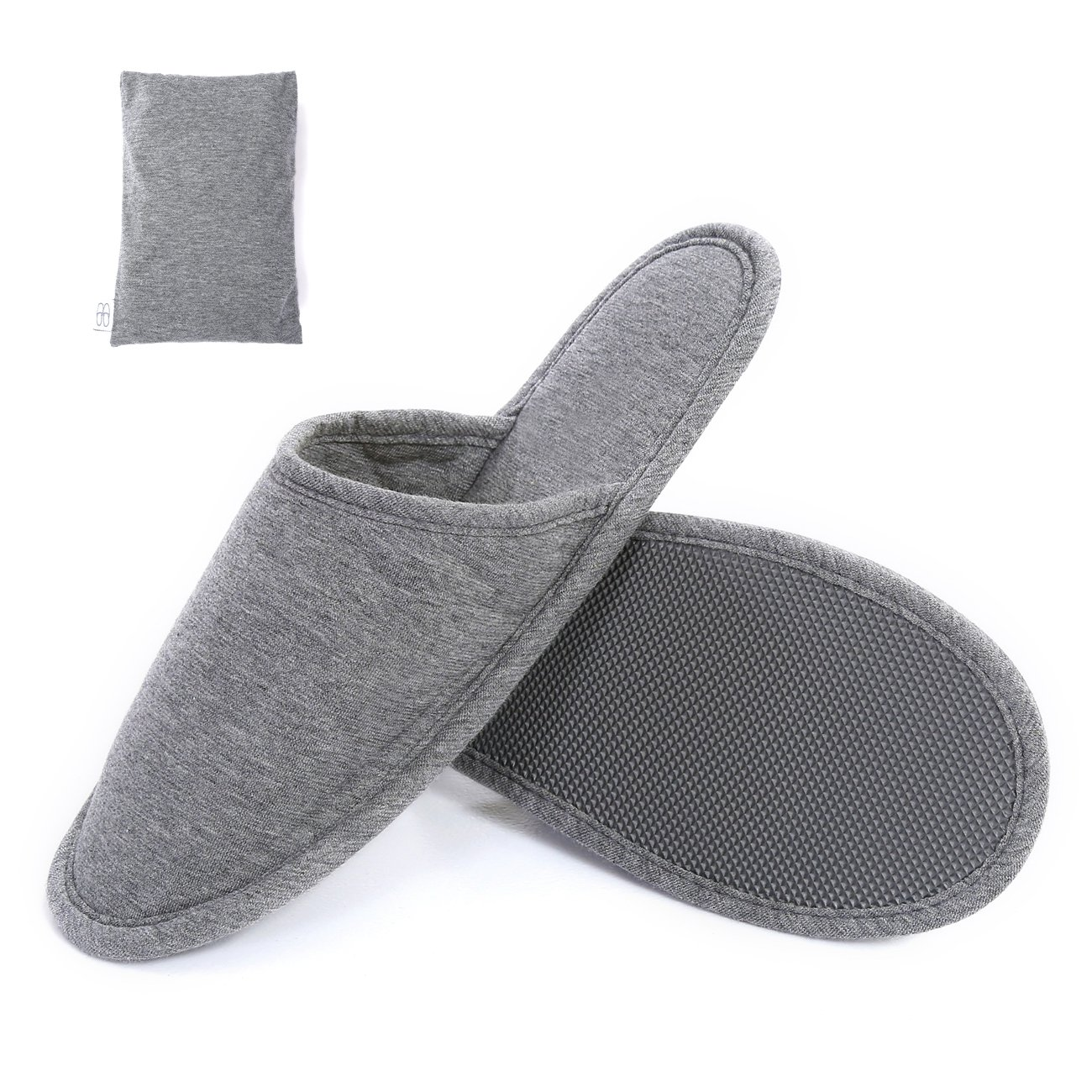 SUSYBAO Travel Slippers Super Soft Foldable Knitted Cotton House Shoes with Non-Slip Sole Breathable Lightweight Washable with Portable Pocket for Home Hotel Spa Airplane Solid Dark Gray