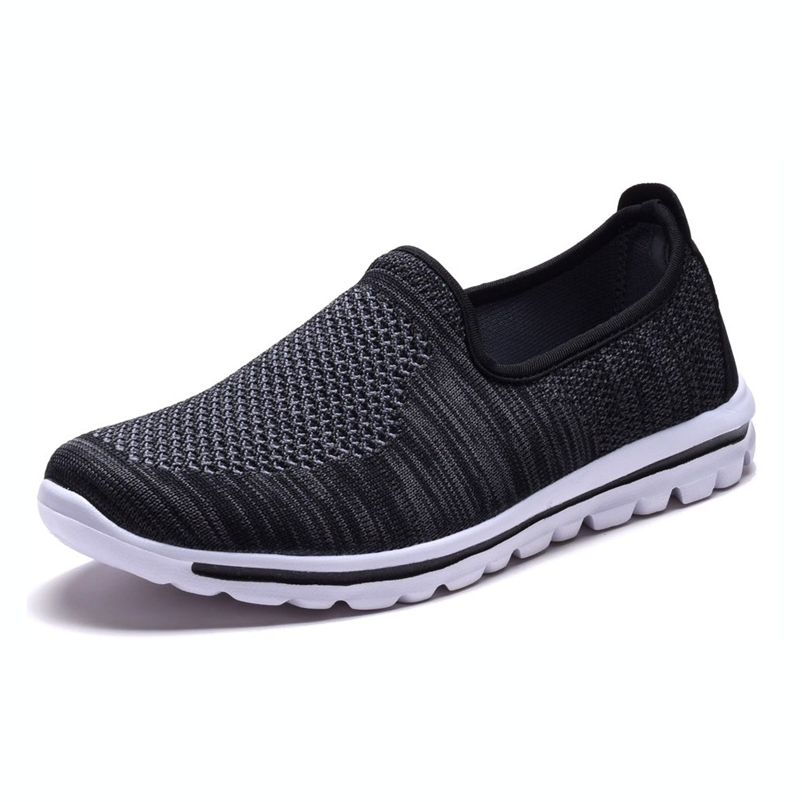 DailyShoes Women's Fit Mesh Slip-on Style Walking Shoes with Memory Foam Insoles- Breathable Mesh - Durable Soles - Reliable Traction - Perfect for Walks and Jogs, Black Mesh, 9 B(M) US