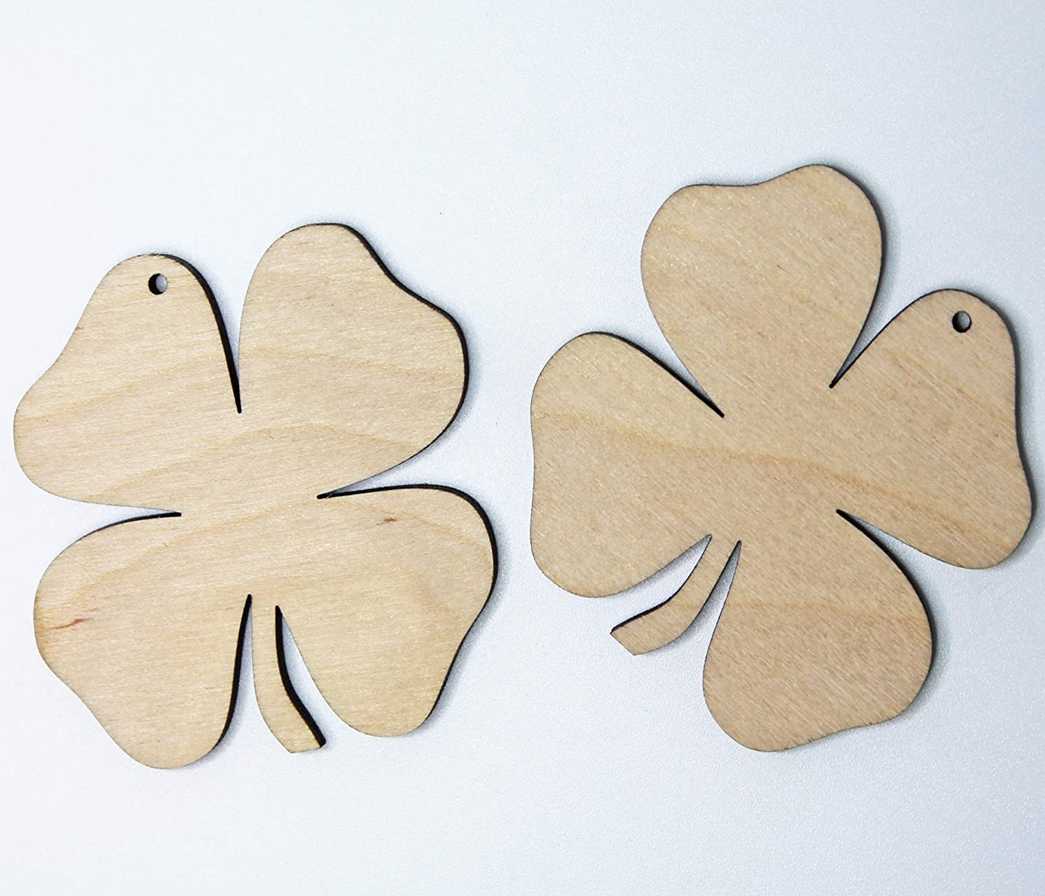 Unfinished Wood Wooden Shamrock Laser Cutout Dangle Earring Jewelry Blanks Charms Ornaments Shape Crafts Made in Texas 12pc to 100pc ALL SIZES BULK