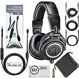 Audio-Technica ATH-M50x Professional Monitor Headphones (Black) + Tekline Iphone Lightning Replacement Cable
