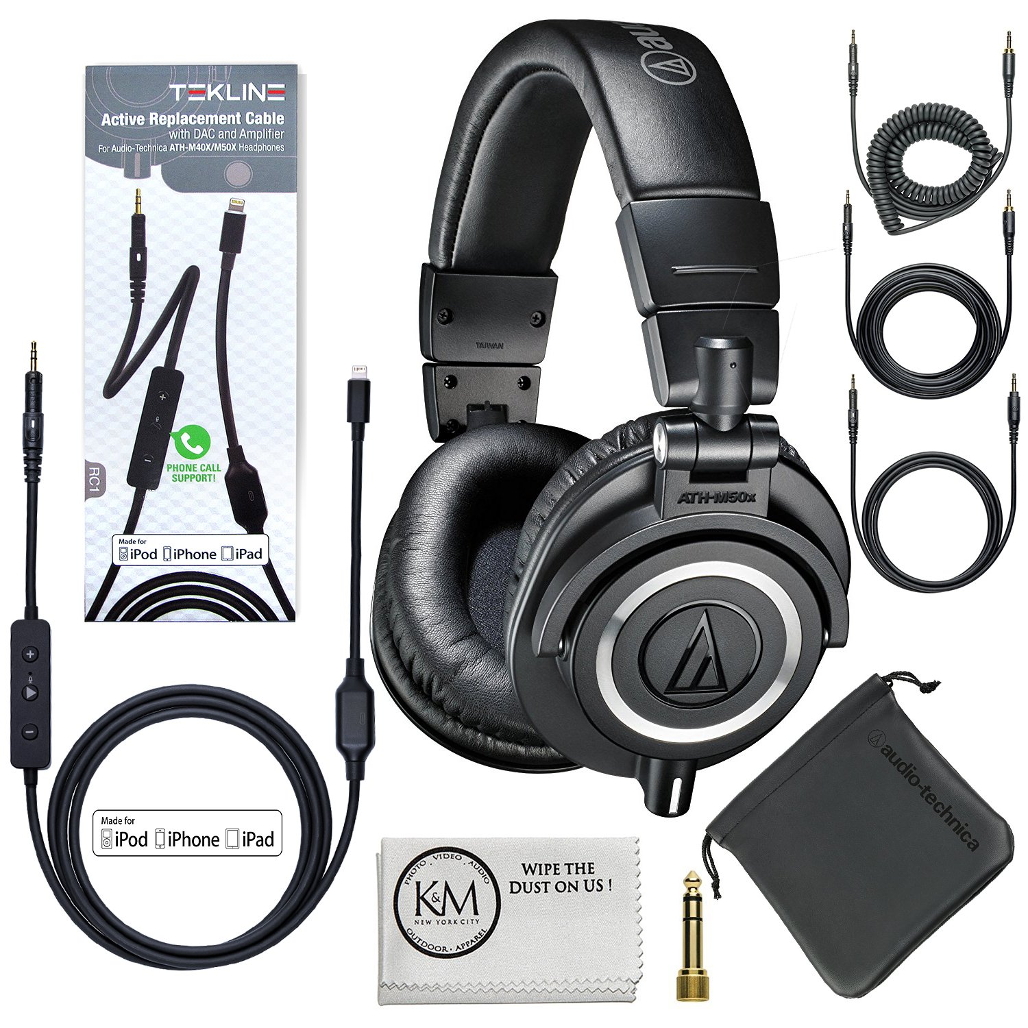 Audio-Technica ATH-M50x Professional Monitor Headphones (Black) + Tekline Iphone Lightning Replacement Cable