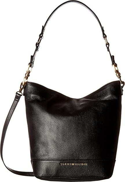 fef13fc01cd5 Amazon.com: Tommy Hilfiger Women's Maisie Pebble Leather Convertible Bucket  Black One Size: Shoes