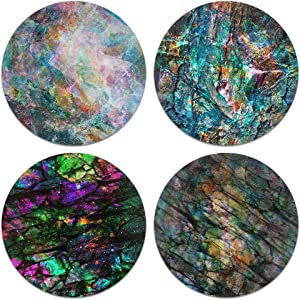 CARIBOU Coasters , Color Stone Granite Design Absorbent ROUND Fabric Felt Neoprene Coasters for Drinks, 4pcs Set