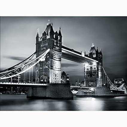 1wall Vintage Style London Tower Bridge By Night Black And White Wallpaper Wall Mural