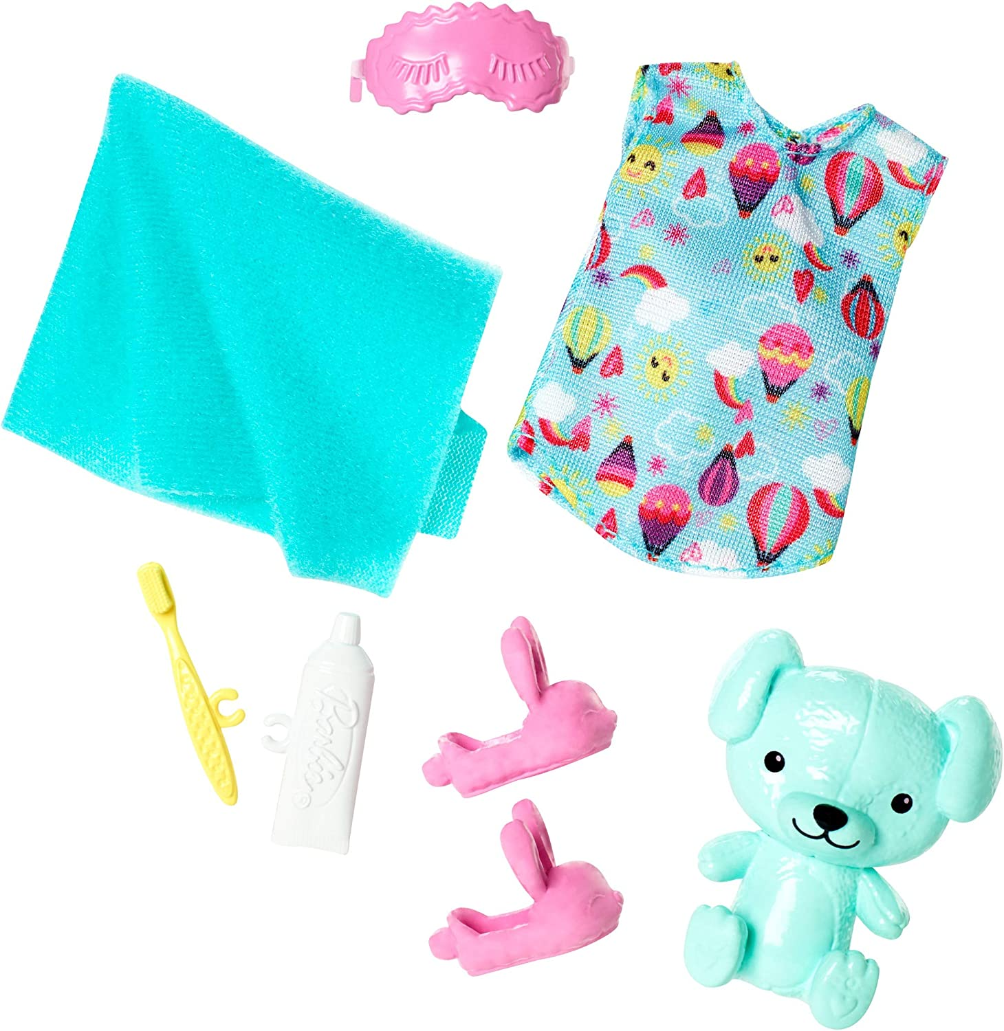 Barbie Club Chelsea Accessory Pack, Bedtime-Themed Clothing and Accessories for Small Dolls, 7 Pieces for 3 to 7 Year Olds Include Teddy Bear