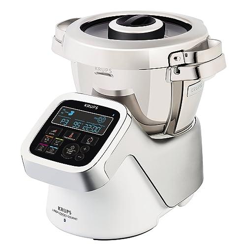 Krups iprep & Cook XL Gourmet Robot multifonction avec fonction cuisson et Bluetooth, 1550W, Blanc/Argent/Acier inoxydable