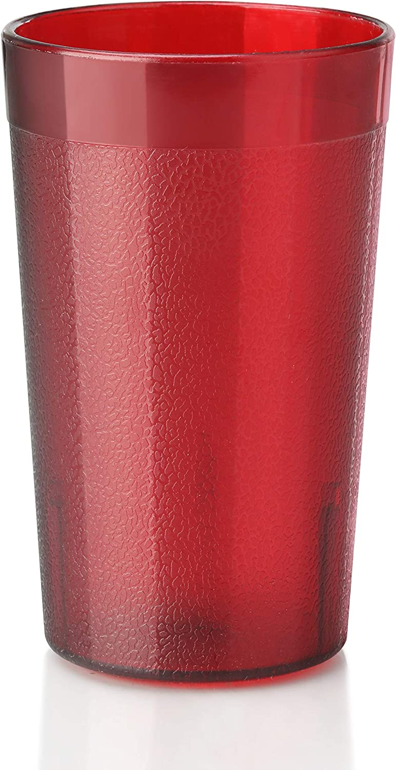New Star Foodservice 46595 Tumbler Beverage Cup, Stackable Cups, Break-Resistant Commercial SAN Plastic, 5 oz, Red, Set of 72