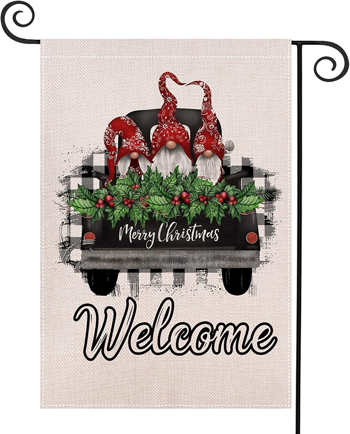SHANGXING Merry Christmas Gnomes Garden Flag-11.8 x 7.8 Inch Double-Sided Printed Christmas Tree Farmhouse Xmas Yard Burlap Banner for Home & Outdoor Decoration (Car)