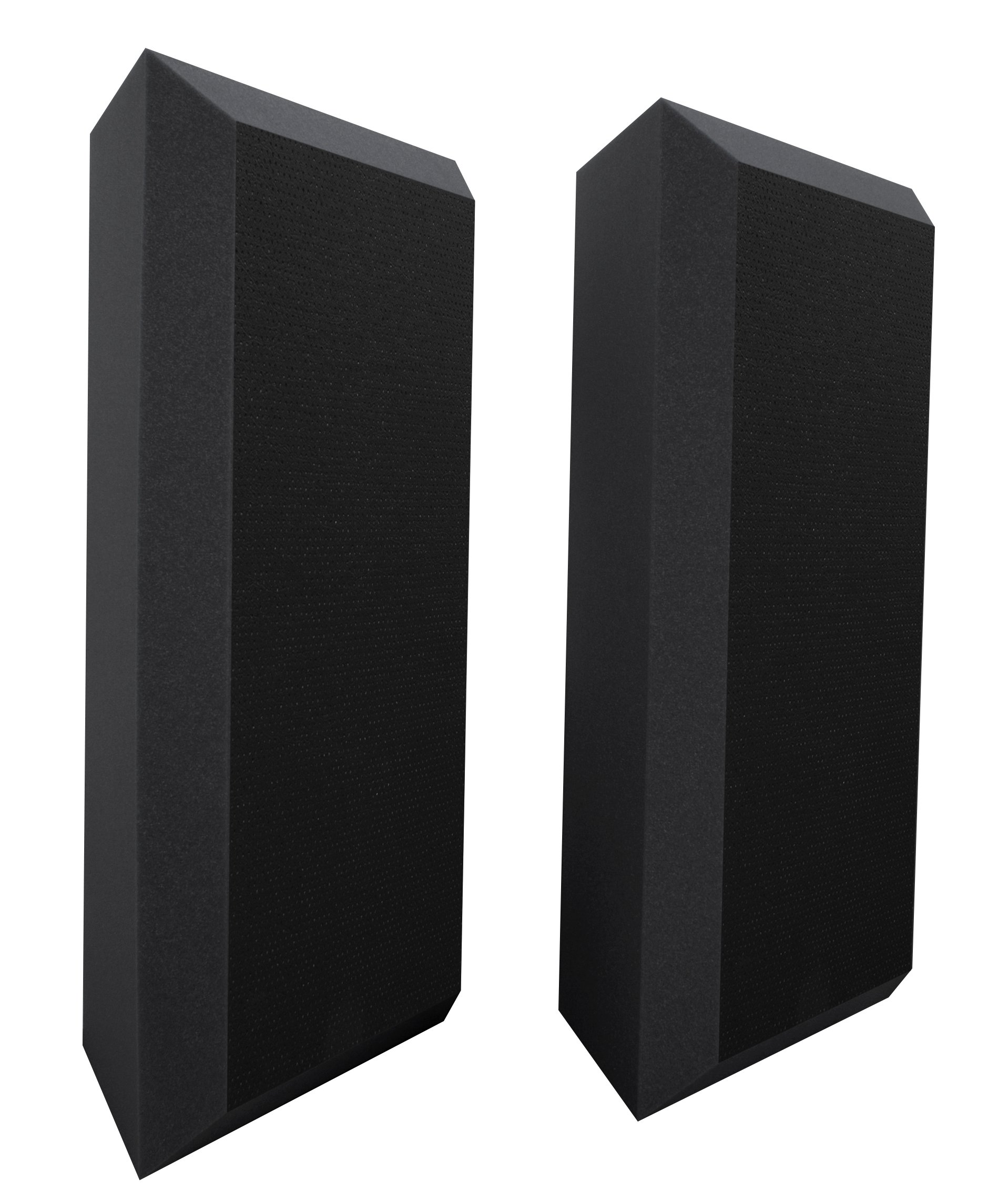 Ultimate Acoustics UA-BTVBG Bass Trap Professional Acoustic Foam with Bevel, Vinyl Covering and Mounting Tabs Included, 2 Pairs