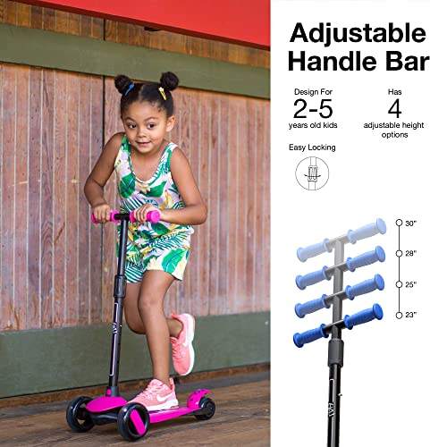 6KU 3 Wheels Kick Scooter for Kids and Toddlers Girls Boys, Adjustable Height, Learn to Steer with Extra-Wide PU LED Flashing Wheels for Children from 2 to 5 Year-Old.
