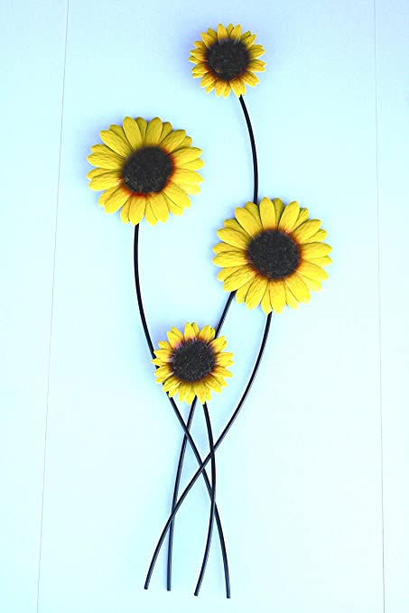 Fountasia Metal Wall Art Sunflower Bunch Contemporary Garden Home