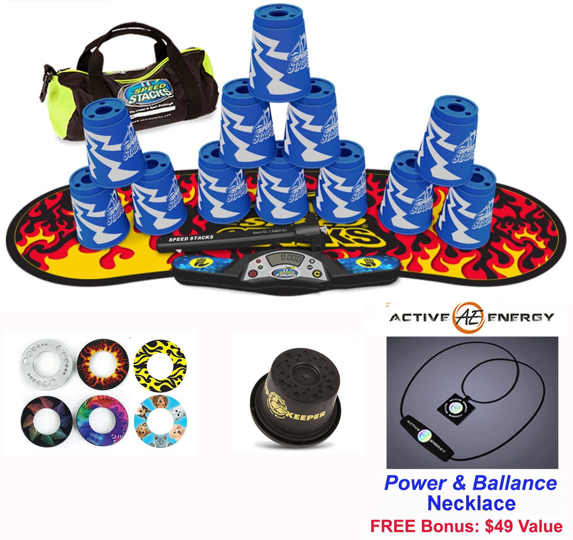 Speed Stacks Combo Set 'The Works'': 12 ATOMIC PUNCH 4'' Cups, Black Flame Gen 3 Mat, G4 Pro Timer, Cup Keeper, Stem, Gear Bag + Active Energy Necklace