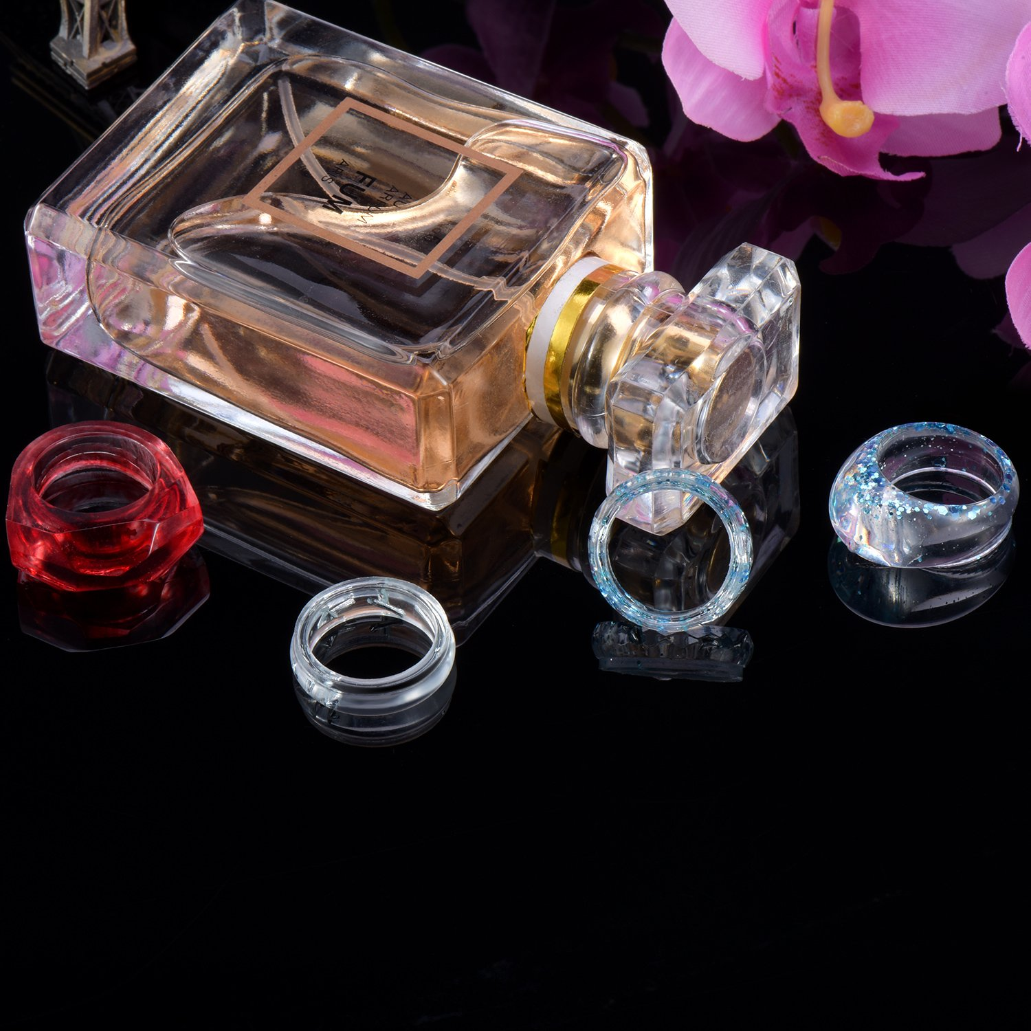 4 Types Canomo 12 Pieces 3 Size Silicone Ring Mold Jewelry Rings Resin Casting Circle Mould with 5 Pieces 2ml Plastic Droppers for DIY Craft Ring Making