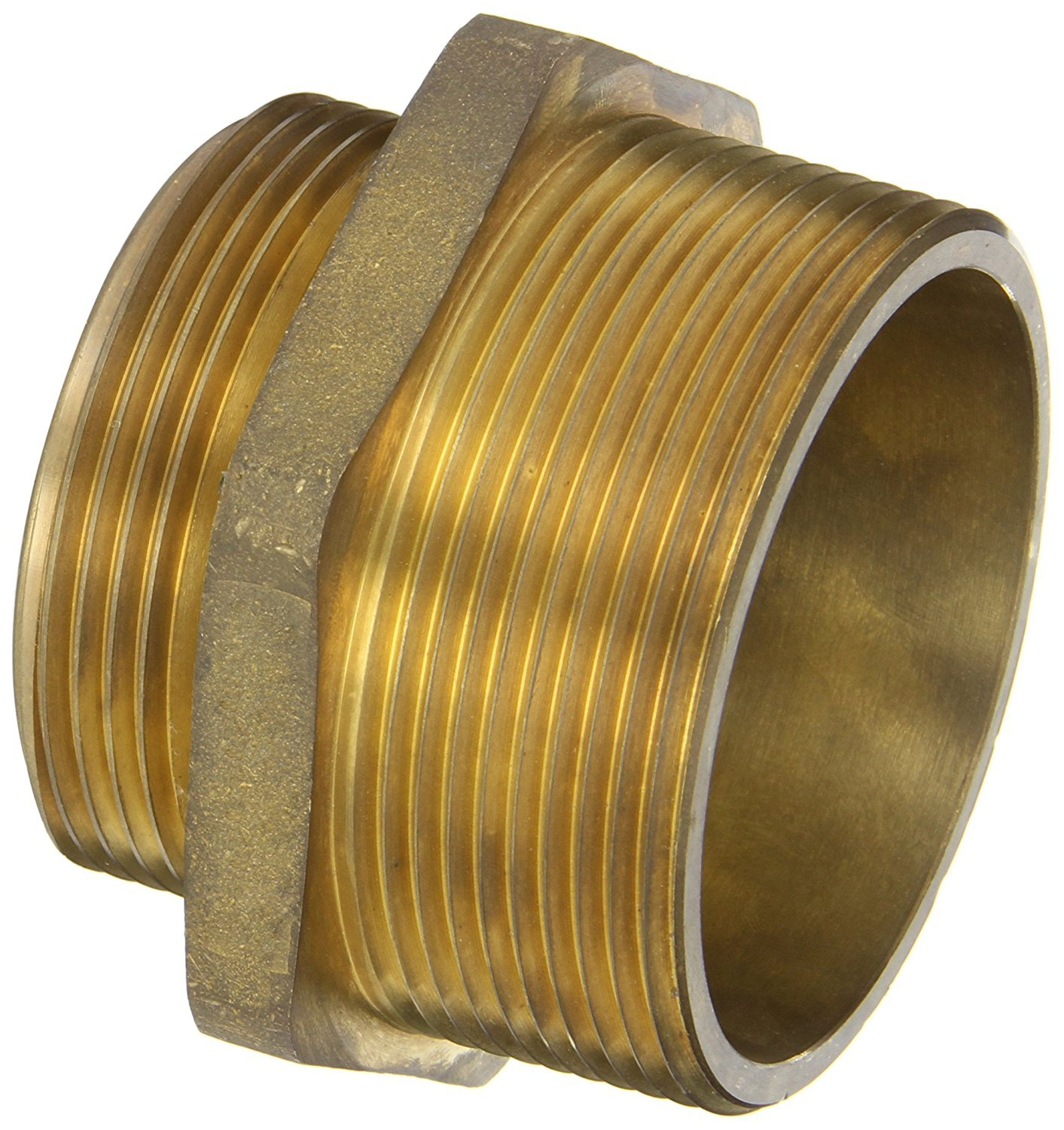 Campbell Fittings DMH3025F Double Male Hex Nipple, 3'' ID, Brass, 3'' NPT x 2-1/2'' NST