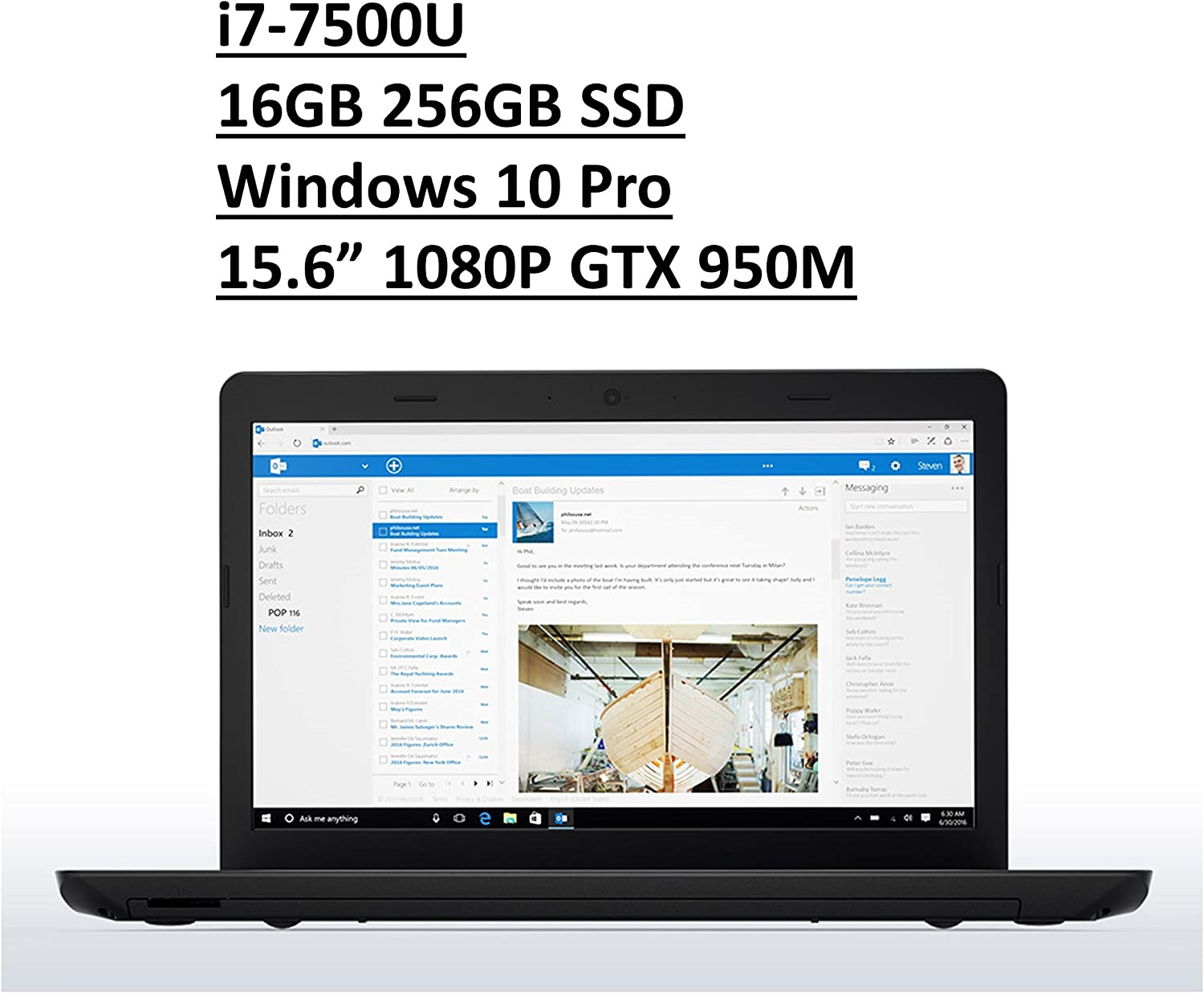 "2017 Lenovo ThinkPad E570 15.6"" Business Laptop: Full HD (1920x1080) IPS Anti-Glare, Intel Core i7-7500U, 256GB SSD, 16GB DDR4, NVIDIA GTX 950, FingerPrint, DVD+RW, Windows 10 Pro"