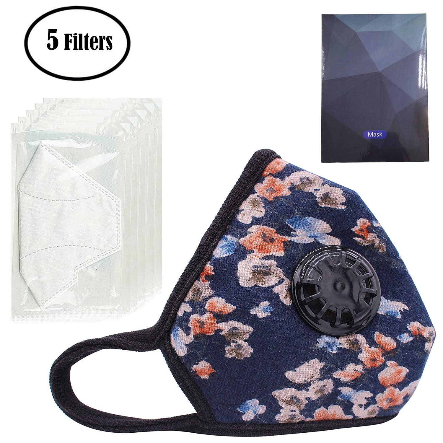PM2.5 Anti Pollution Mask Military Grade N99 Washable Dust Respirator Cotton Anti-dust Mouth Masks with Replaceable Filters for Men and Women (1 Mask + 5 Filters) (Blue flower)