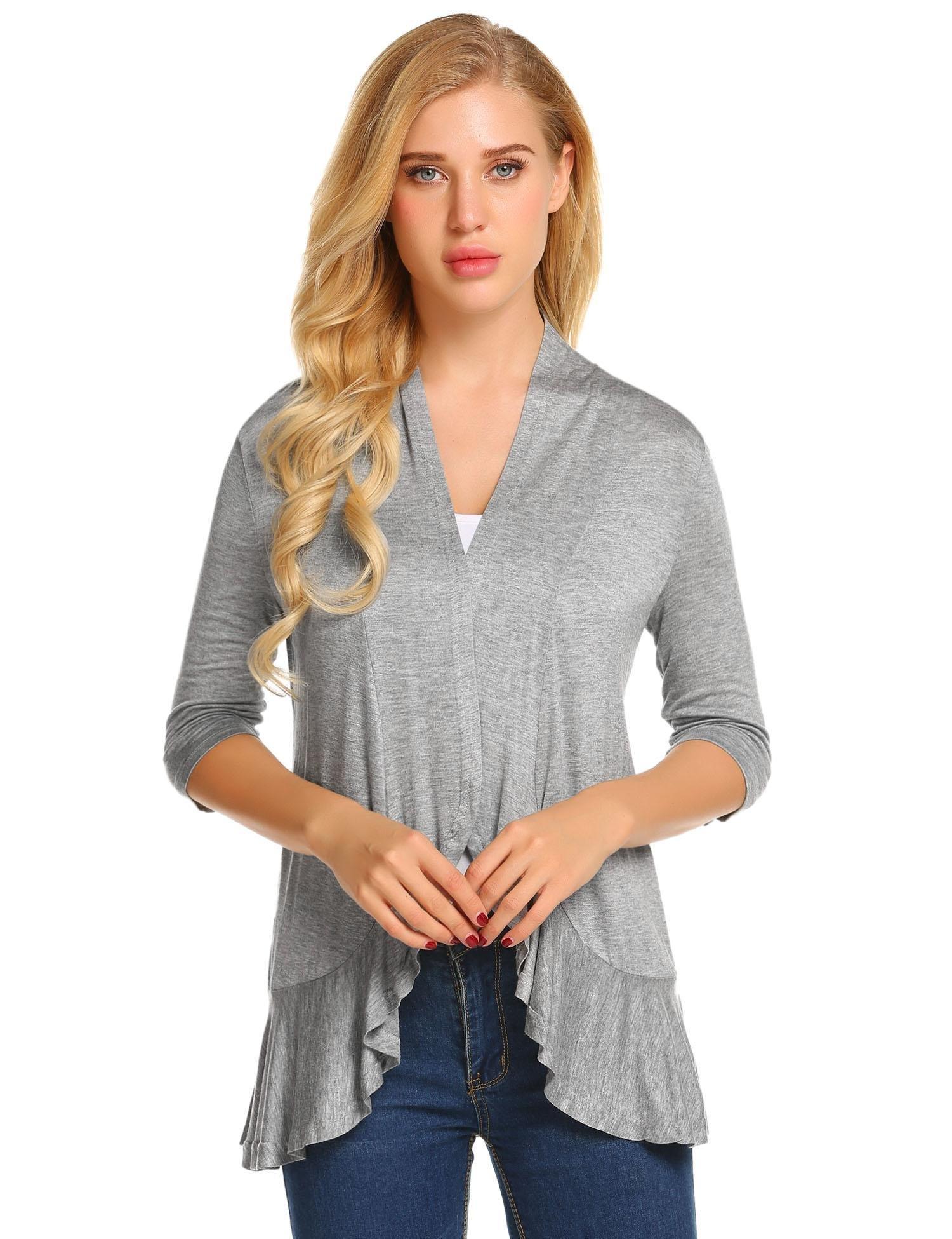 Zeagoo Womens Open Front 3/4 Sleeve Draped Ruffles Knit Cardigan,1-grey,Medium