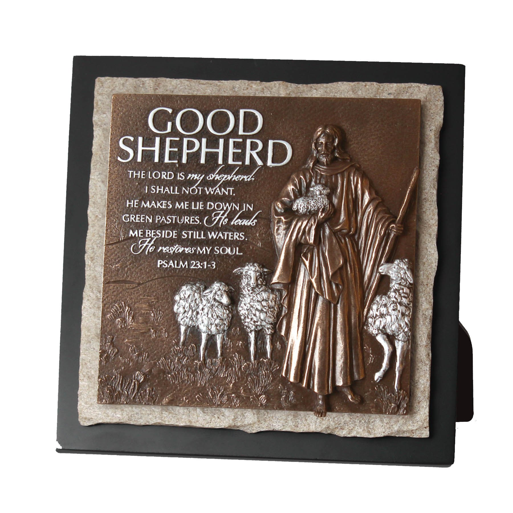 Lighthouse Christian Products Cast Stone Moments of Faith Good Shepherd Small Sculpture Plaque, 7 1/2 x 7 1/2''