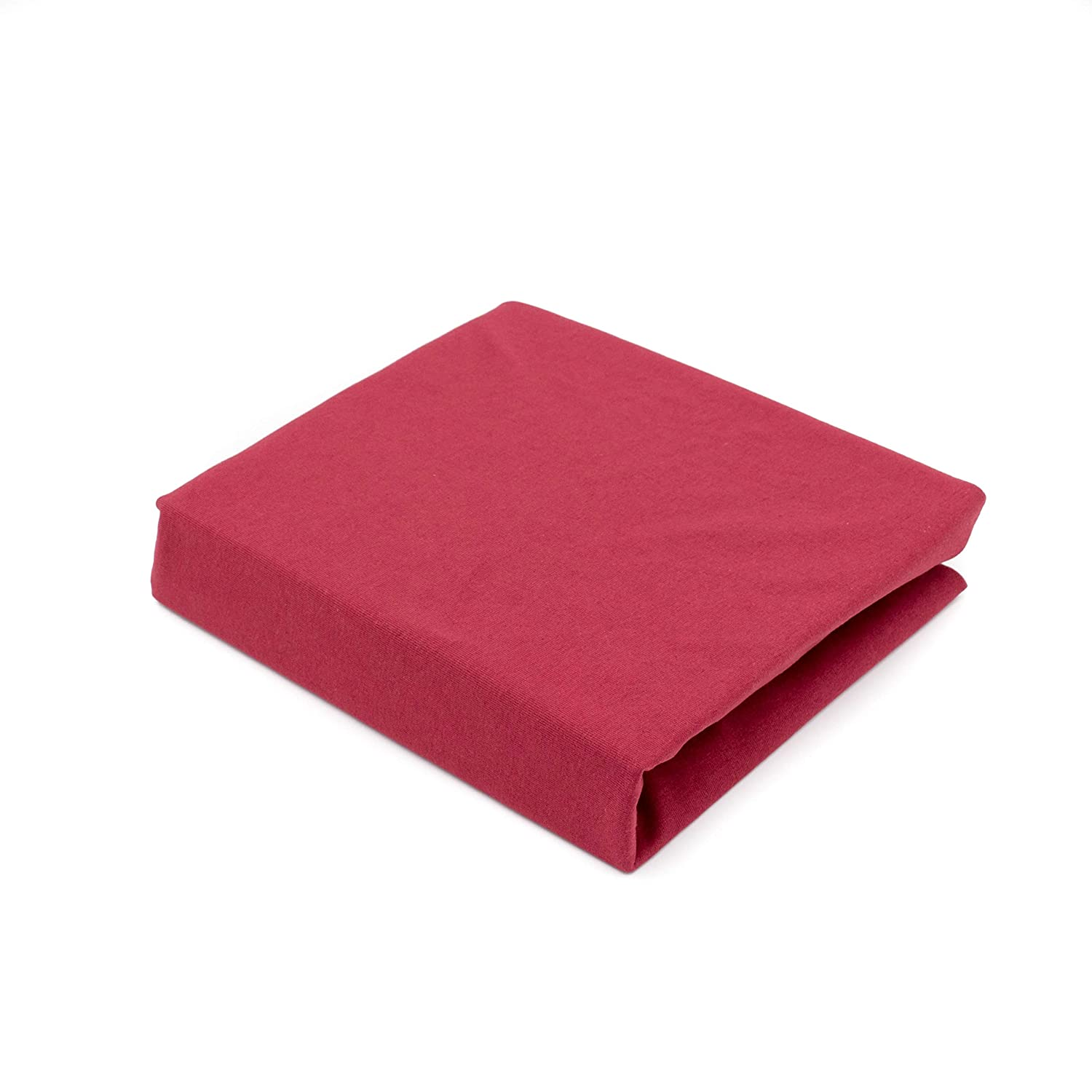 Dark Red Cotton Jersey Cot Bed Fitted Sheets,70 x 140 cm