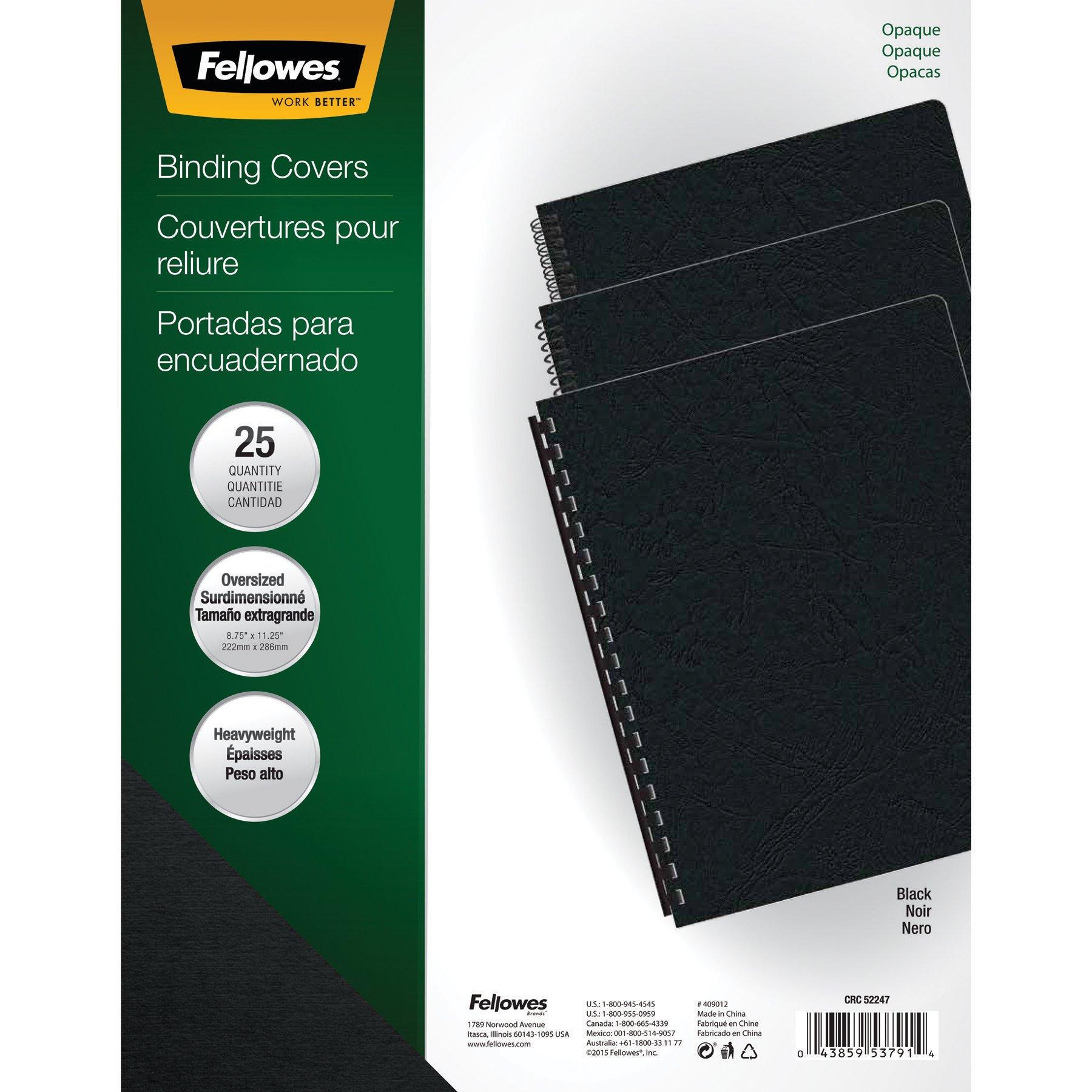 Fellowes Binding Presentation Covers, Oversize Letter, Black, 25 Pack (5224701)