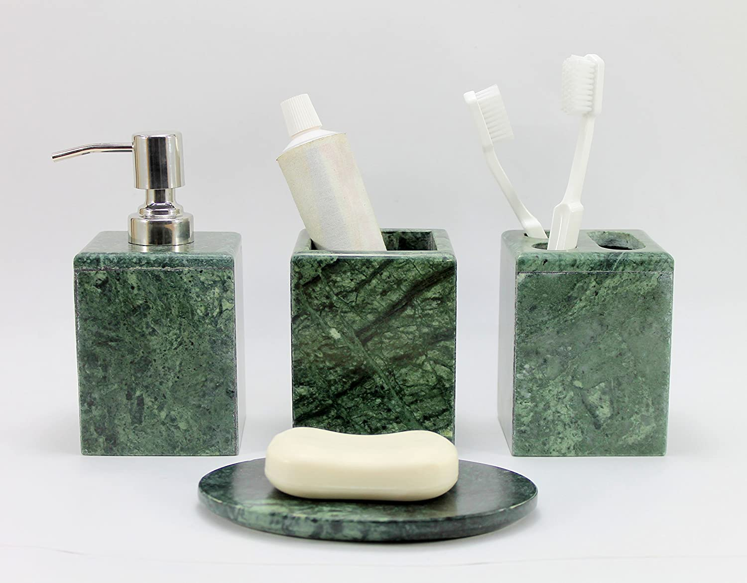 Utility and Soap Dish BathAcceSet KLEO Bath Accessories Set of 4 Includes Soap Dispenser Toothbrush Holder Bathroom Accessory Set Made from Natural Brown//Sand Stone