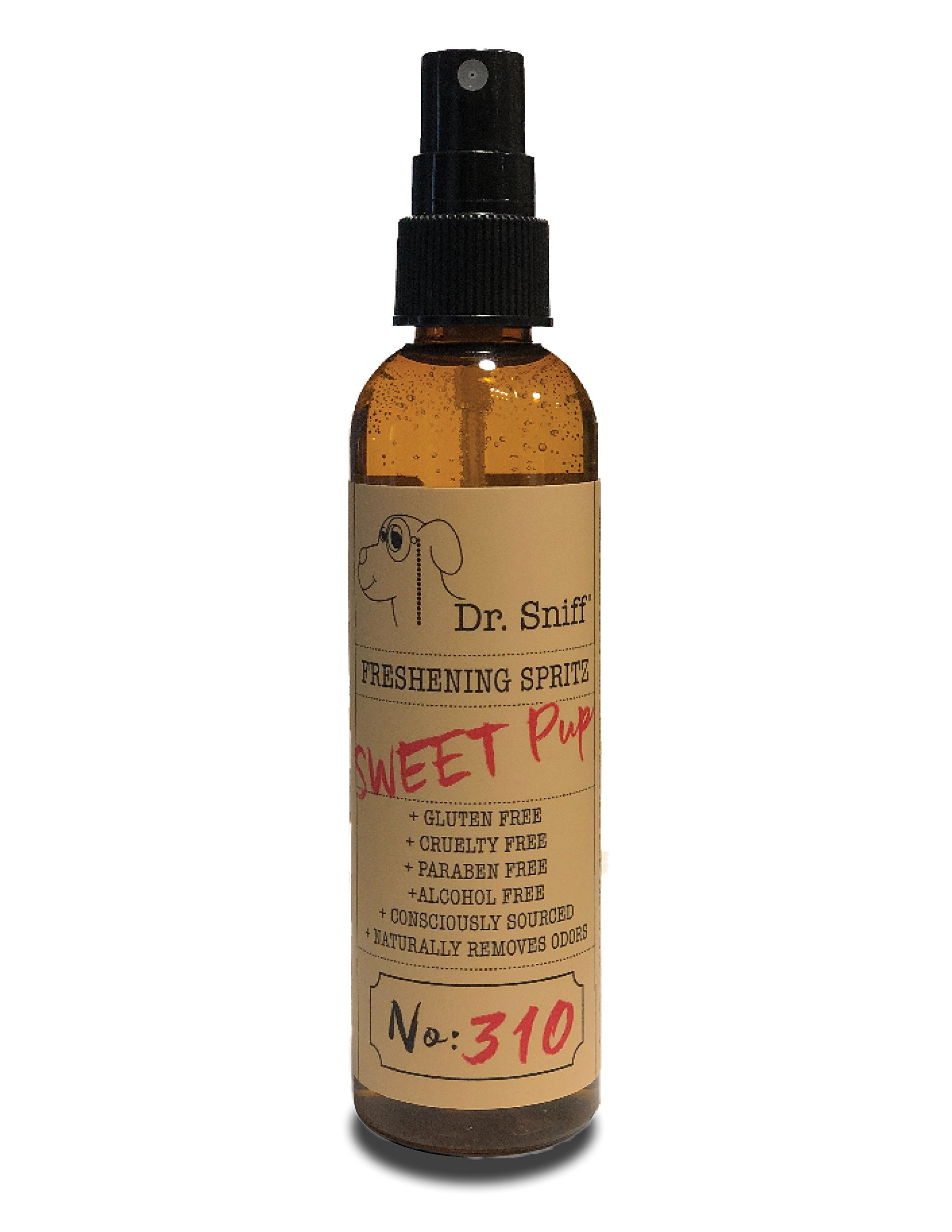 Dr. Sniff Freshening Spritz (Sweet Pup) | Deodorizing Spray | Made with Organic Aloe, Organic Agave and Argan Oil | Free of Alcohol, Parabens, Toxins, Sulfates and Gluten | Eliminates Odors | 4oz