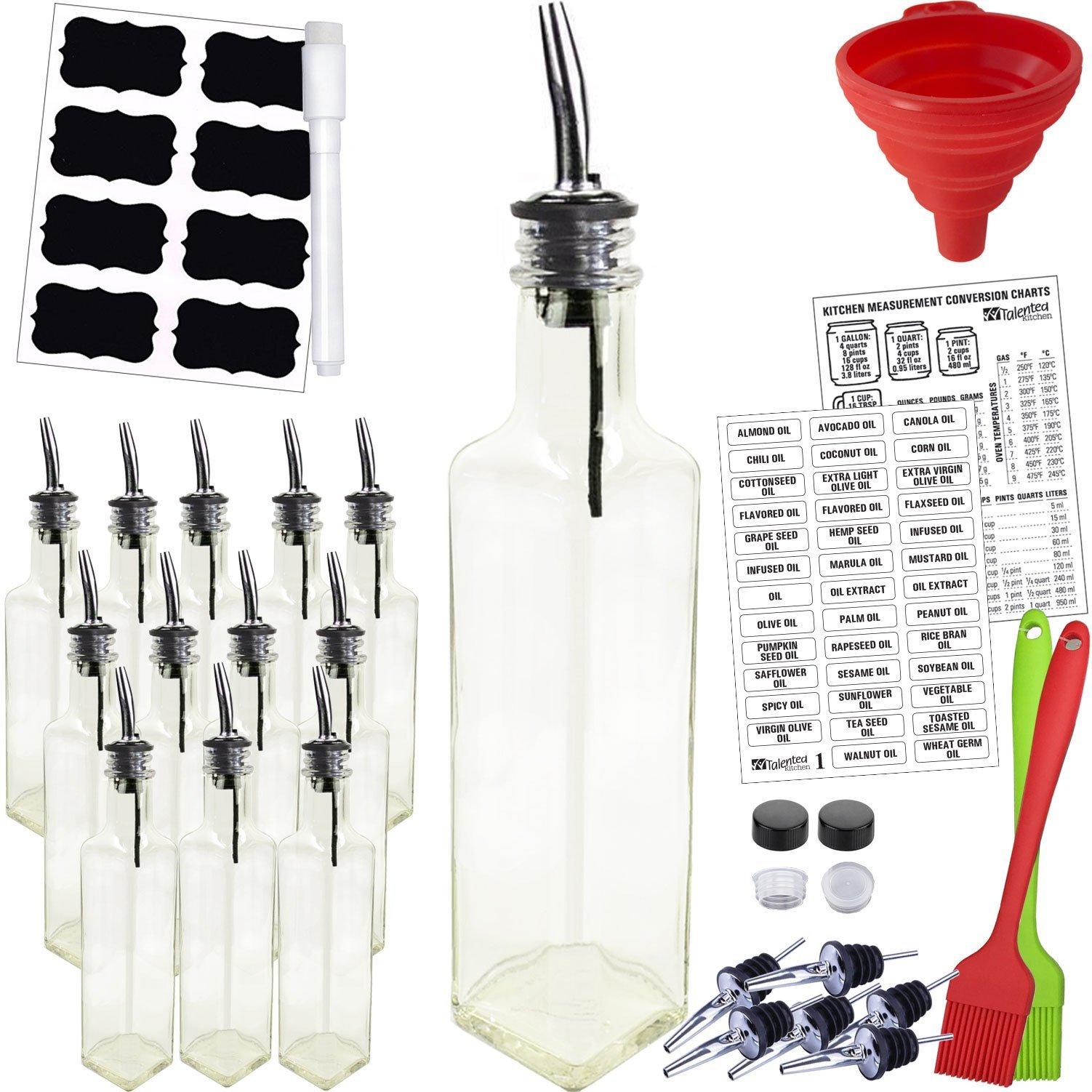 12-PACK Quadra 8.5oz Glass Bottles w/Liquid Pourers & 2 Types of Preprinted Labels. Complete Set Homemade Premium Commercial Grade byTalented Kitchen
