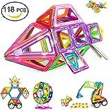 Magnetic Blocks, Magnetic Building Blocks 118 PCS, Magnetic Tiles for Kids, Magnetic Educational STEM Toys for 3, 4, 5+ Year Old Boys and Girls