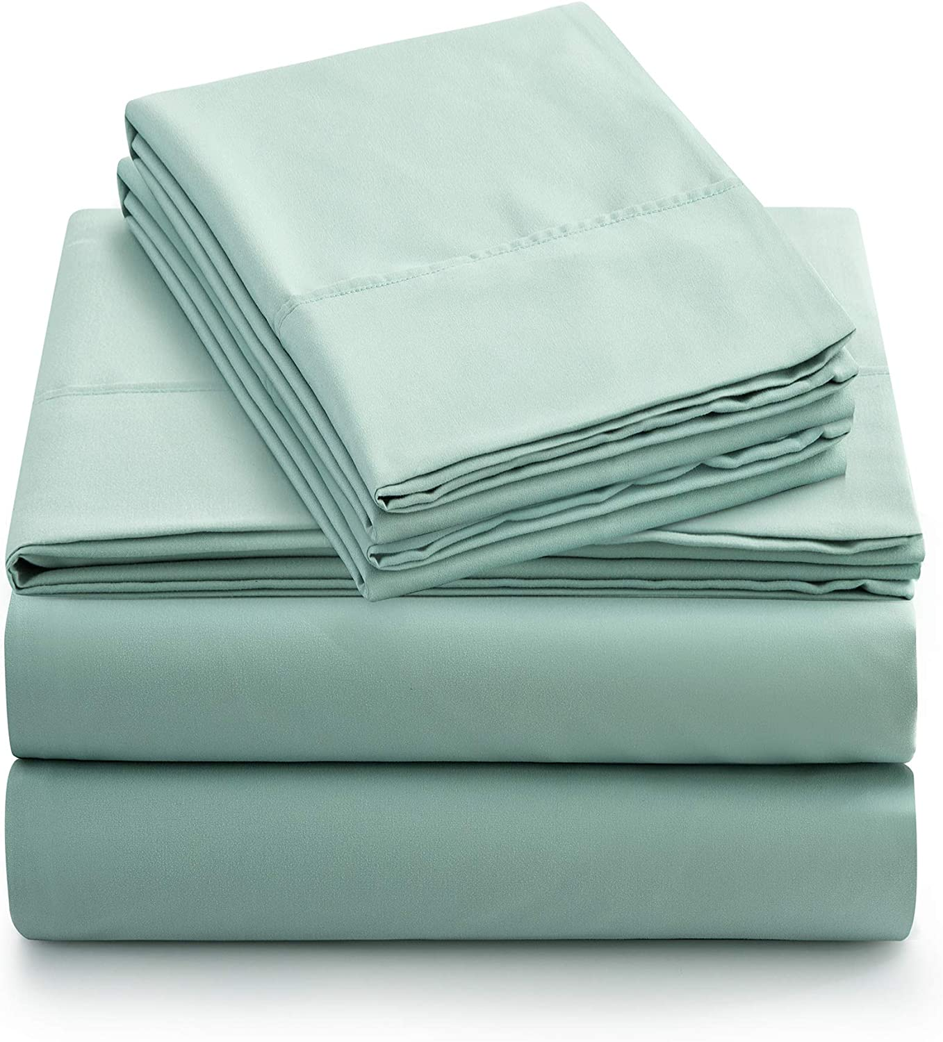Newspin Bed Sheets Set, 1800 Series Soft Sheets Thicken Durable Double Brushed Microfiber Wrinkle Resistant Bedding Sheet fit 16 inch Deep Pockets Mattress(4 Piece Queen Sheet Set,Mint Green)