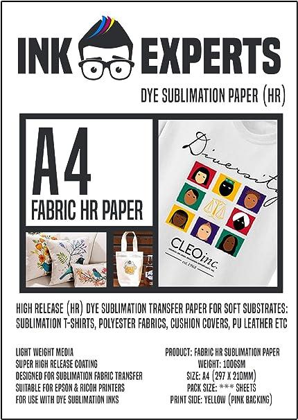 Ink Experts - Subli-Fabric - Papel de sublimación de alta liberación (A4, 100 g/m²) 100 Sheets: Amazon.es: Oficina y papelería