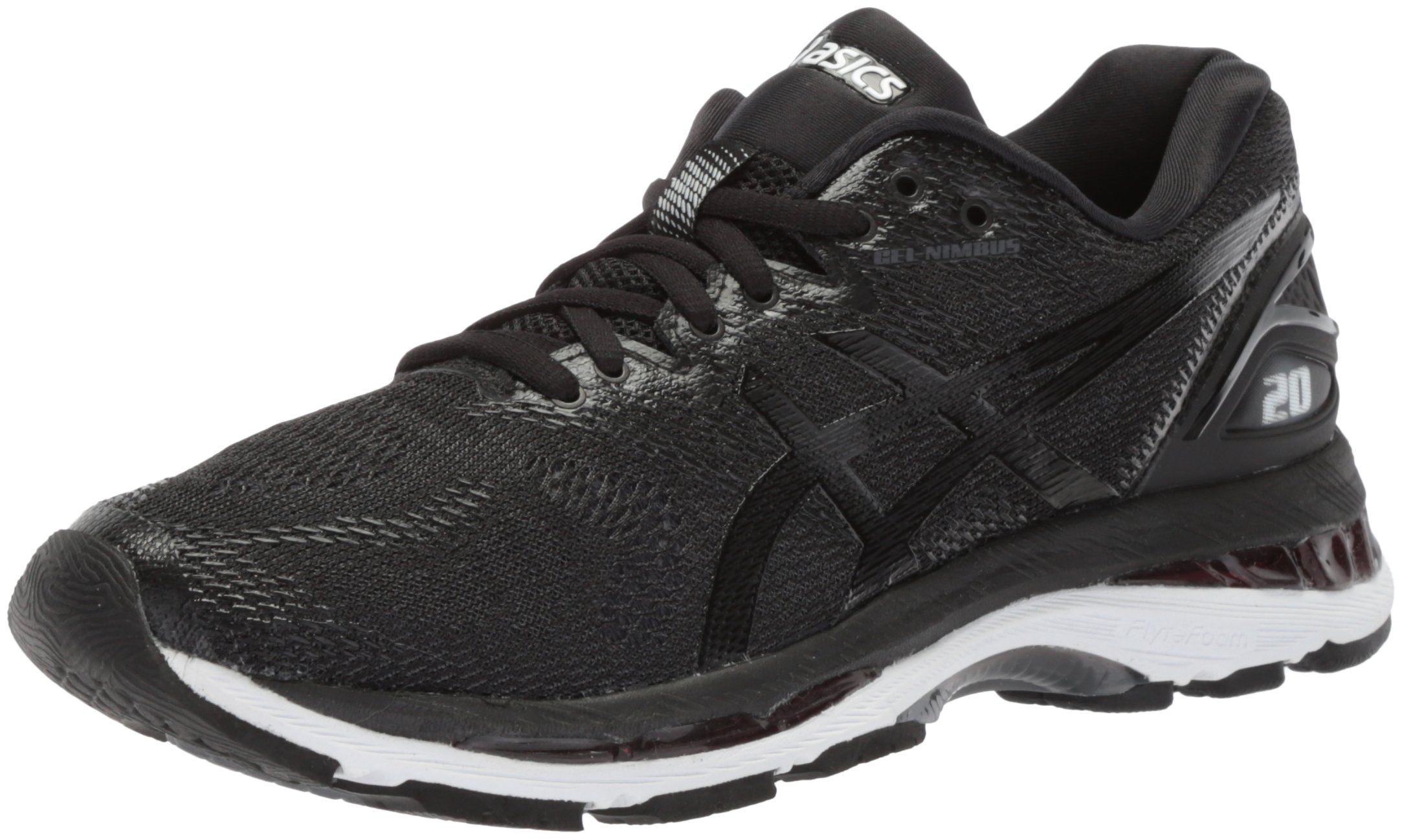 ASICS Women's Gel-Nimbus 20 Running Shoe, black/white/carbon, 5 Medium US by ASICS (Image #1)