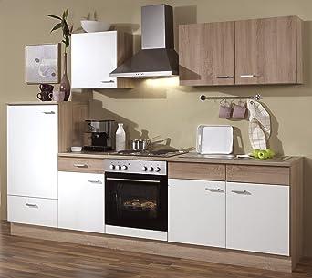 Küchenzeile 270 cm Komplett Küche mit Kühlschrank Herd Backofen Spüle Esse