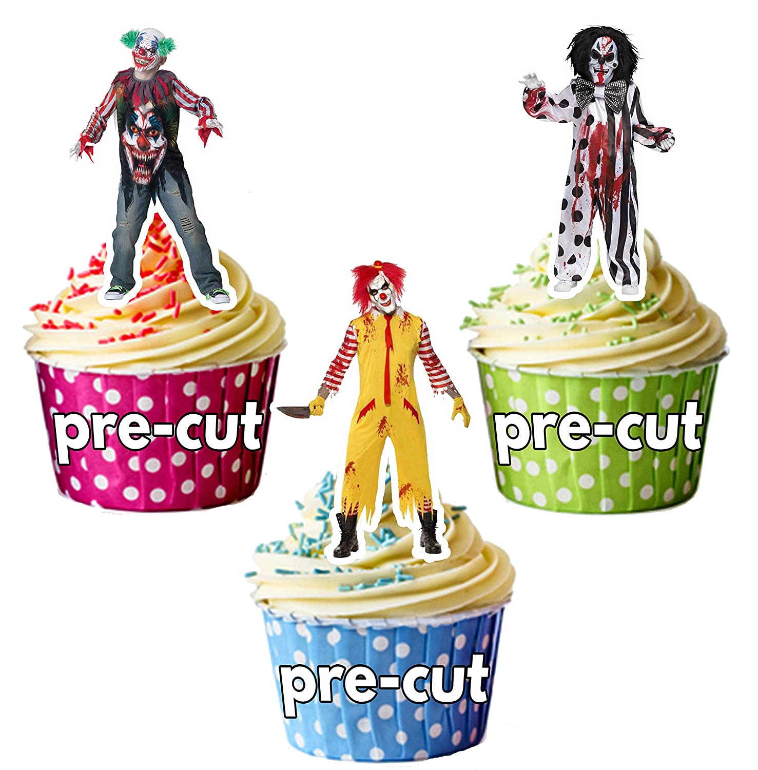 PRE-CUT Halloween Evil Clown Party Pack Edible Cupcake Toppers/Cake Decorations (Pack of 36) AK Giftshop Ltd