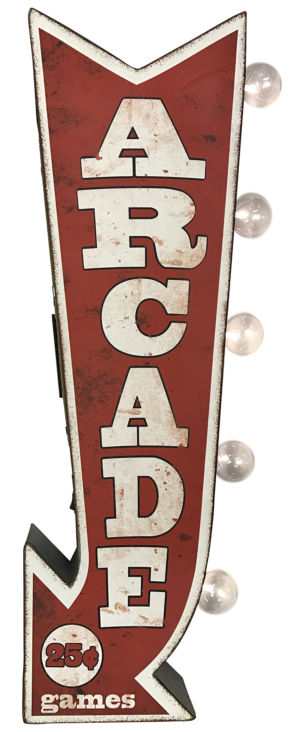 Arcade Reproduction Vintage Advertising Sign - Battery Powered LED Lights, Double Sided Metal Wall Mounted - 25 x 10 x 3 inches by American Art Decor