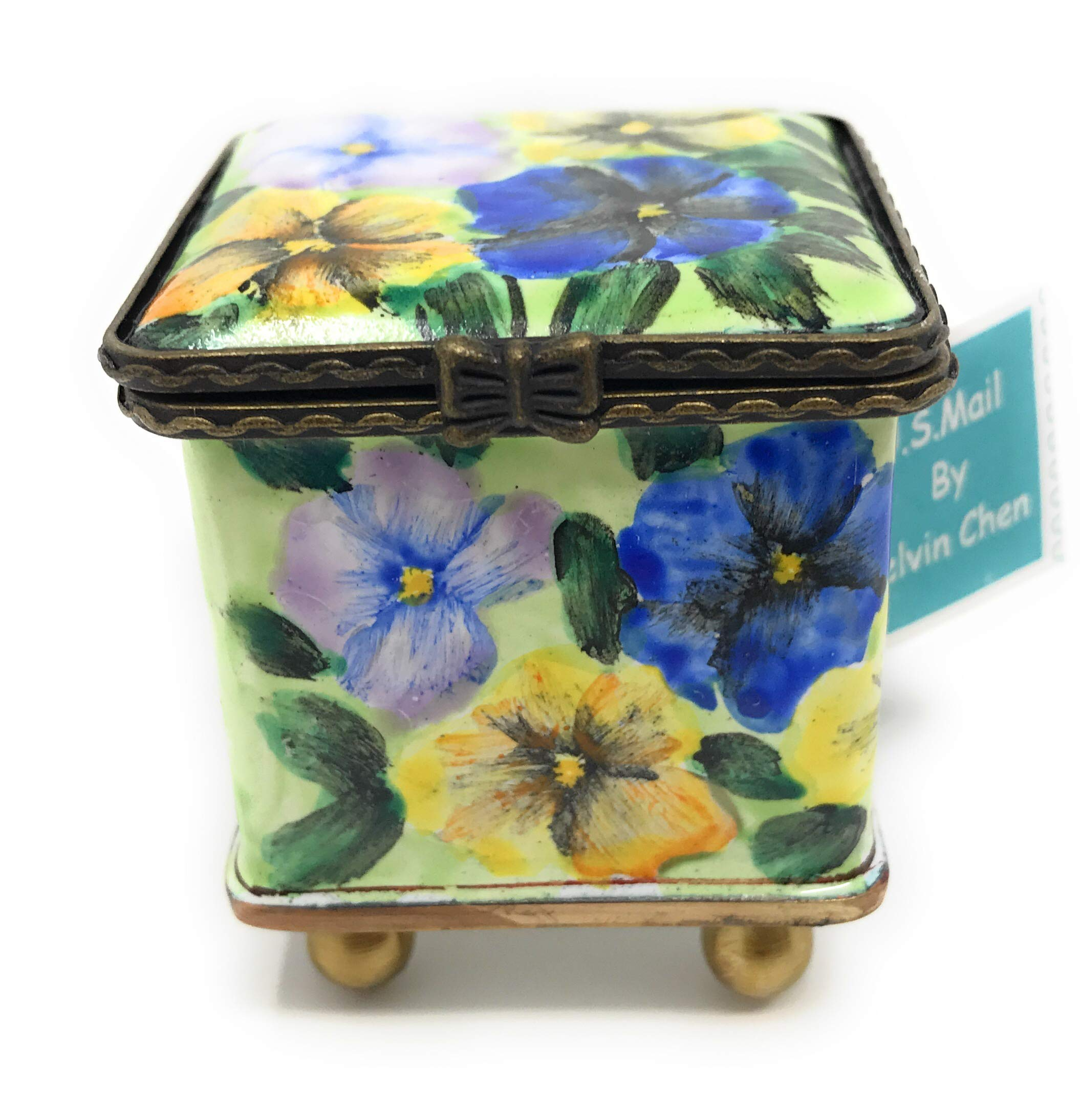 Kelvin Chen Pansy Blossoms Enameled Postage Stamp Holder, 1.75 Inches Square by Kelvin Chen