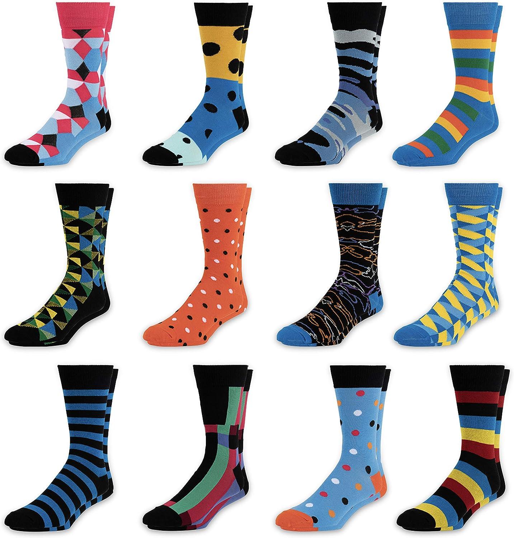 Men's Colorful Dress Socks - Fun Patterned Funky Crew Socks For Men - 12 Pack