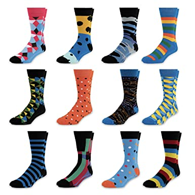 3a2f29f8861 Amazon.com  Men s Colorful Dress Socks - Fun Patterned Funky Crew Socks For  Men - 12 Pack (Style 1)  Clothing