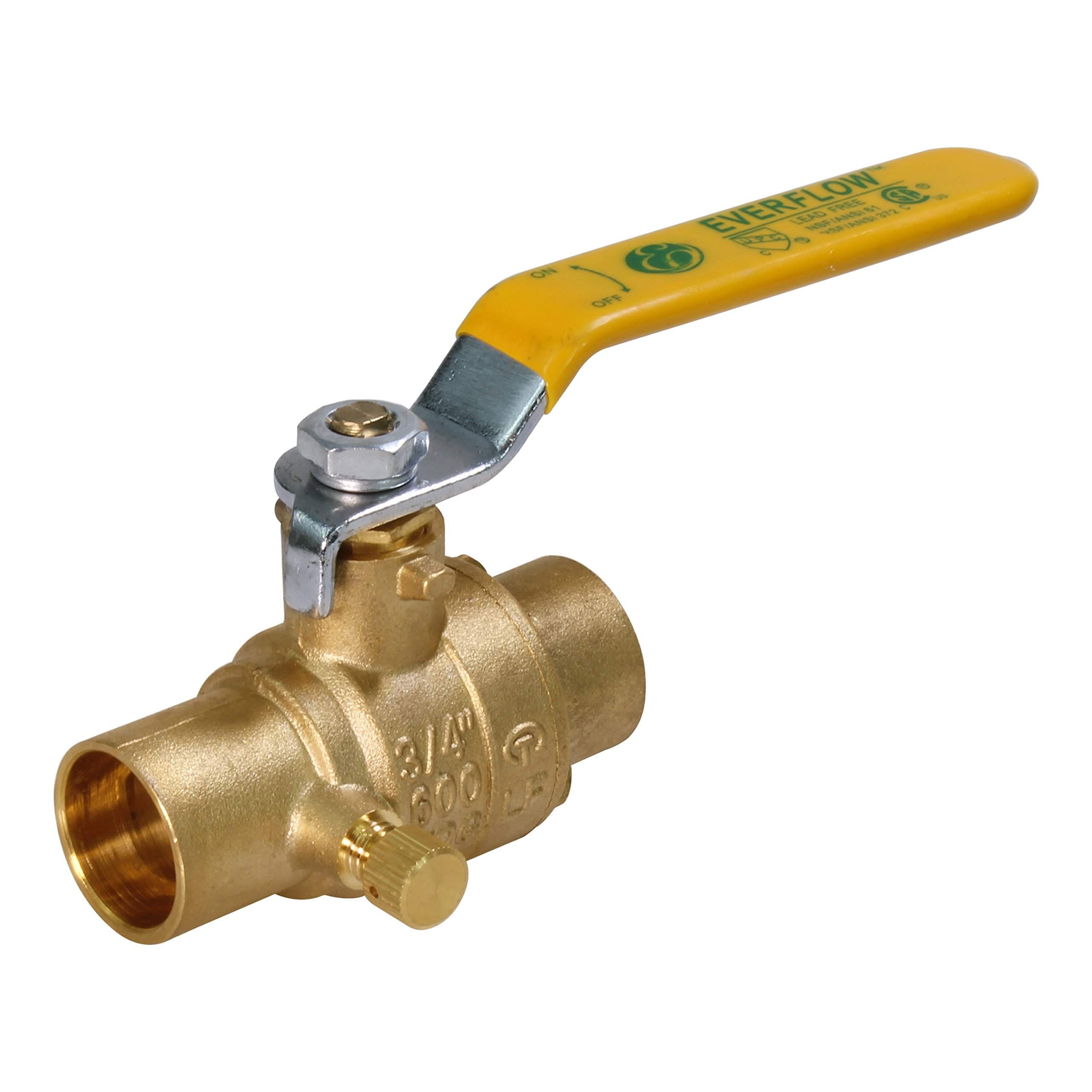Everflow 405C034-NL Full Port Ball Valve with Drain, Forged Brass Construction w/Chrome Plated Brass Body with 3/4 Inch SWT, Blow Out Proof Stem Design, Stainless Steel Ball Handle with Vinyl Grip