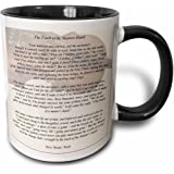 3dRose The Touch of the Masters Hand. Inspirational poem penned by Myra Brooks Welch. Violin background. - Two Tone Black Mug, 11oz (mug_157881_4), 11 oz, Black/White