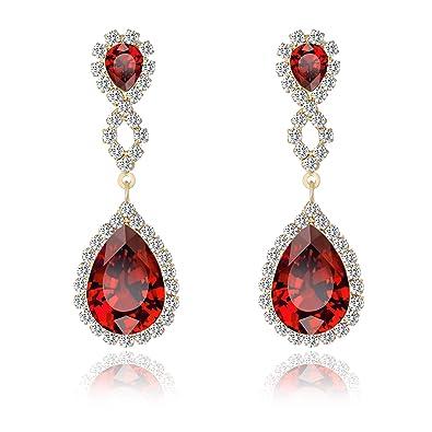8ffe87fd8 Miraculous Garden Womens Rhinestone Crystal Pierced Drop Earrings for  Wedding Party-2 Tone Plated (