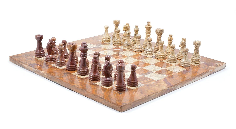 Fossilstone & rouge Onyx  Fossil Gift Shop Jeu d'échecs en marbre de 38,1 cm