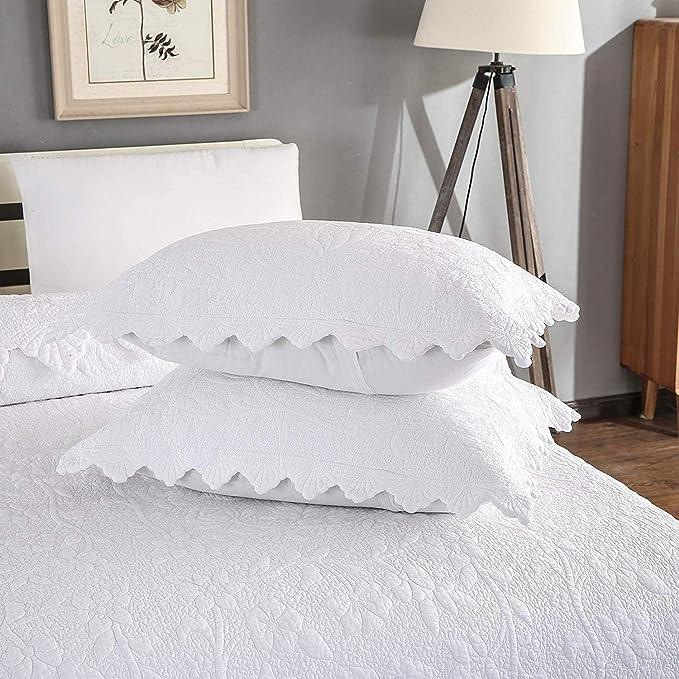 Details about  /Landscape Quilted Coverlet /& Pillow Shams Set Sunrise Foggy Morning Print